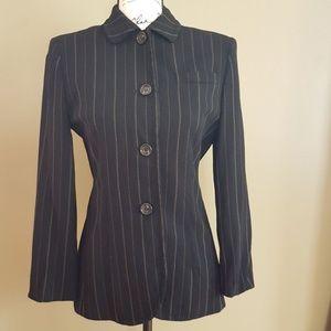 Ann Taylor Women's Black Striped Wool Jacket sz 4